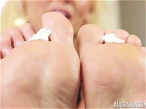 marvelous Alura Jenson caresses in moisturizer on her luxurious soles