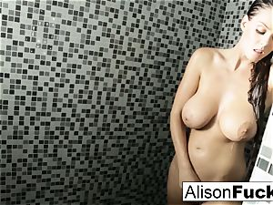 Alison showers and plays with her cock-squeezing honeypot