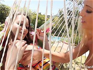 Dani and Cherie screw on the hammock
