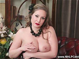 all-natural ample melons black-haired Sophia Delane jerks in nylons
