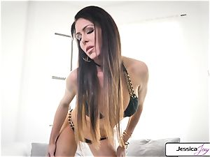 Jessica Jaymes demonstrate you her meaty orbs and humid honeypot