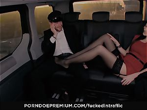 humped IN TRAFFIC - Footjob and car fuck-a-thon with Tina Kay