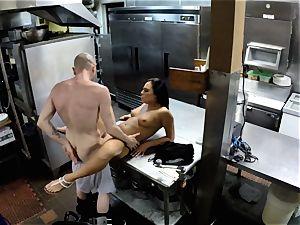 Gianna Nicole pounded in restaurant kitchen