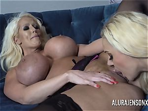 Alura and her big-boobed girl-on-girl mate Dolly get insane