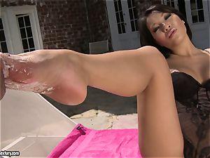 fantastic japanese Asa Akira likes getting her fantastic feet worshipped by her bf