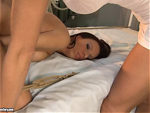 Mandy Bright let her patient deepthroat a rock-hard fake penis