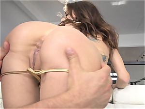 Gia DeMarco loses her swimsuit to anal invasion nail