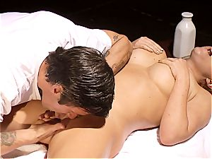 insatiable masseur makes Krissy Lynn wiggle after sensuous enjoy making