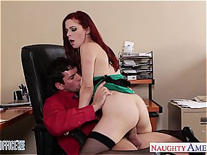 redhead bombshell in glasses Penny Pax bang in the office