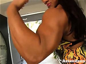 two fantastic intense girls flexing their nude bods for you