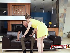 teenager daughters-in-law engage in red-hot lovemaking with each others daddies