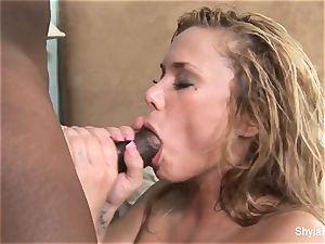 Shyla Stylez gets her twat torn up by a large black manhood