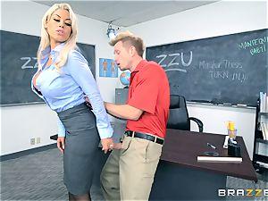 tutor Bridgette B gets her schoolgirl to spunk on her huge-titted globes