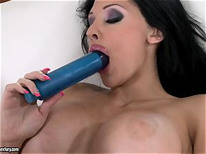 crazy honey Aletta Ocean bangs her rosy fuckhole with her dearest blue plaything
