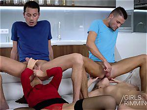 wild foursome asslicking with Tina Kay