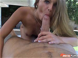 muddy light-haired Jillian Janson cooter plucked on massage table outdoors