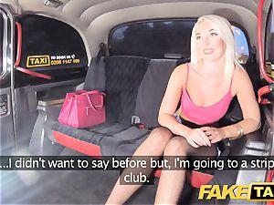 fake taxi uber-sexy blonde in tight denim cut-offs