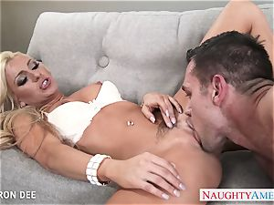 excellent towheaded Cameron Dee gives oral pleasure