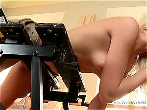 adorable ash-blonde Andrea Francis deepthroating trouser snake with her bumpers out