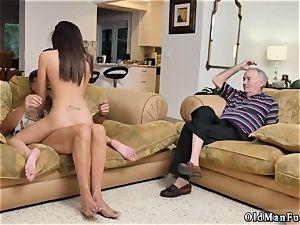 Ball teasing hand job hard-core riding the senior penis!