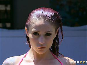 Monique Alexander takes it deep by the monster jizz-shotgun of poolboy Danny D