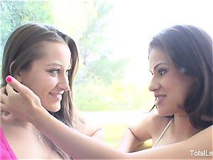 busty dark-haired Vanessa tempts her marvelous stepsister Dani