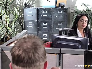 Selena Santana tears up a phat office manstick