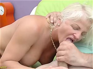 jaw-dropping 73 years elderly mommy very first hefty weenie anal ravage