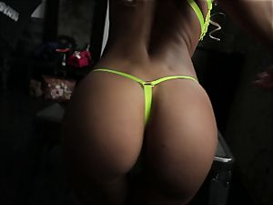 magnificent fledgling babe displaying her muff in point of view flick