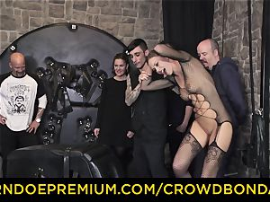 CROWD bondage - extreme bondage & discipline pulverize wheel with Tina Kay
