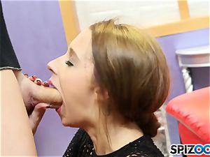 jism guzzler Lola Hunter gags on enormous spunk-pump
