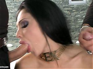 spunky bitch Aletta Ocean gets two rigid chubs deep throating it sizzling one at a time