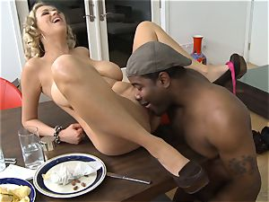 Frustrated wife Katie Kox gets romped on a table in front of her guy
