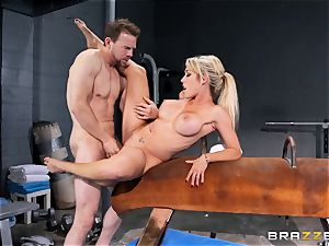 Capri Cavanni ends her workout with some hefty sausage