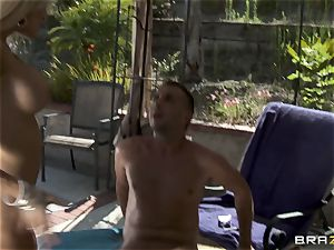 subjugated plumbs his big-titted nasty chief Helly Mae Hellfire and ejaculates in her coochie outdoor