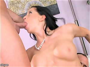 steaming Larissa Dee gets those delectation holes loaded with bulky rock hard sausages