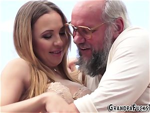 nubile blows gramps outside