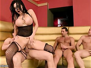 Aletta Ocean gets her tight slots clogged with huge meatpoles anxious to jizm