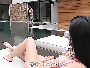 petite teenager Rhaya Shyne humps pool boy