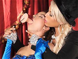 Bridgette B puts super hot assistant Lana Lovelace through her paces