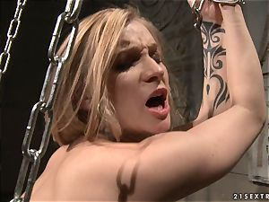 Katy Borman chained blondie penetrate with dildo in the arse