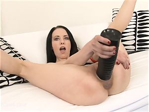 Russian biotch gapes her rosy coochie with a brutish faux-cock