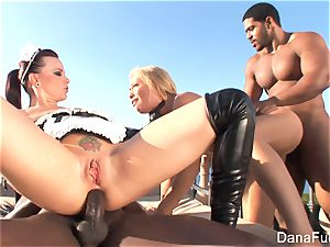 babes Dana and Brooke have a hard-core interracial four-way