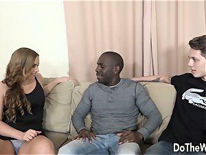 wifey Chrissy takes big black cock anally while spouse licks jism
