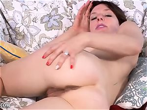 Rose Vermillion flaunts and milks her hairy snatch