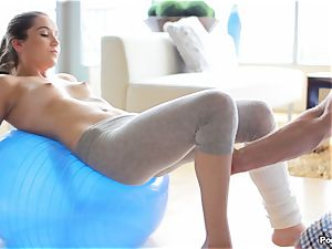 Kasey Warner strips off her yoga trousers and ravages