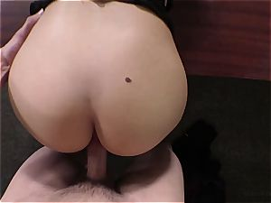 dark haired unexperienced does her first ever buttfuck audition