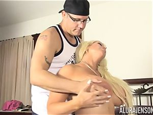 Lusty blond hottie Alura Jenson pussy thrashed by the gardener