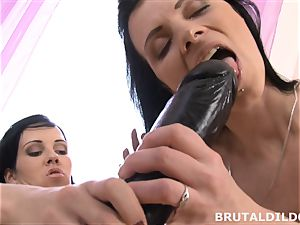 Mary sticks Blue Elis throat and muff with a meaty dildo