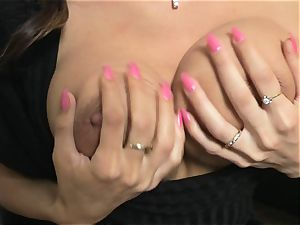Roxanne Milana on ebony do sofa finger pumping out